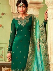 Green Resham Georgette Pant Style Suit