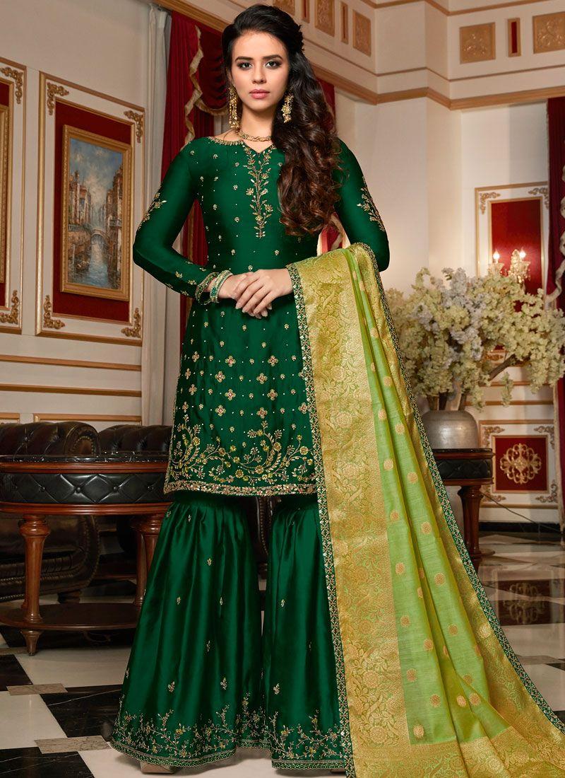 Green Resham Georgette Satin Designer Pakistani Suit