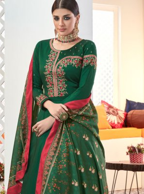 Green Resham Muslin Readymade Suit