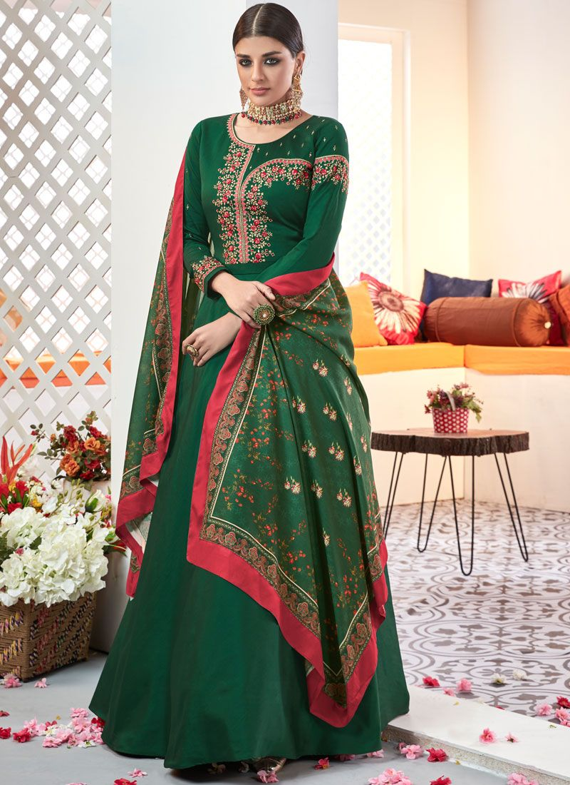 Green Resham Muslin Readymade Suit