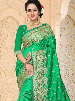 Green Resham Work Art Silk Traditional  Saree
