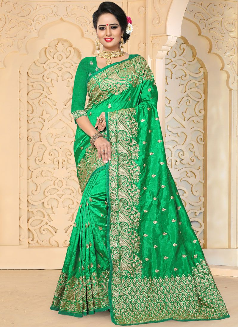 Green Resham Work Art Silk Traditional  Saree