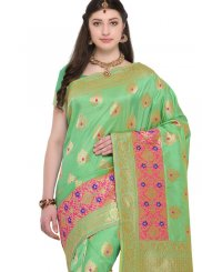 Green Resham Work Banarasi Silk Silk Saree
