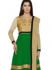 Green Resham Work Faux Georgette Anarkali Suit