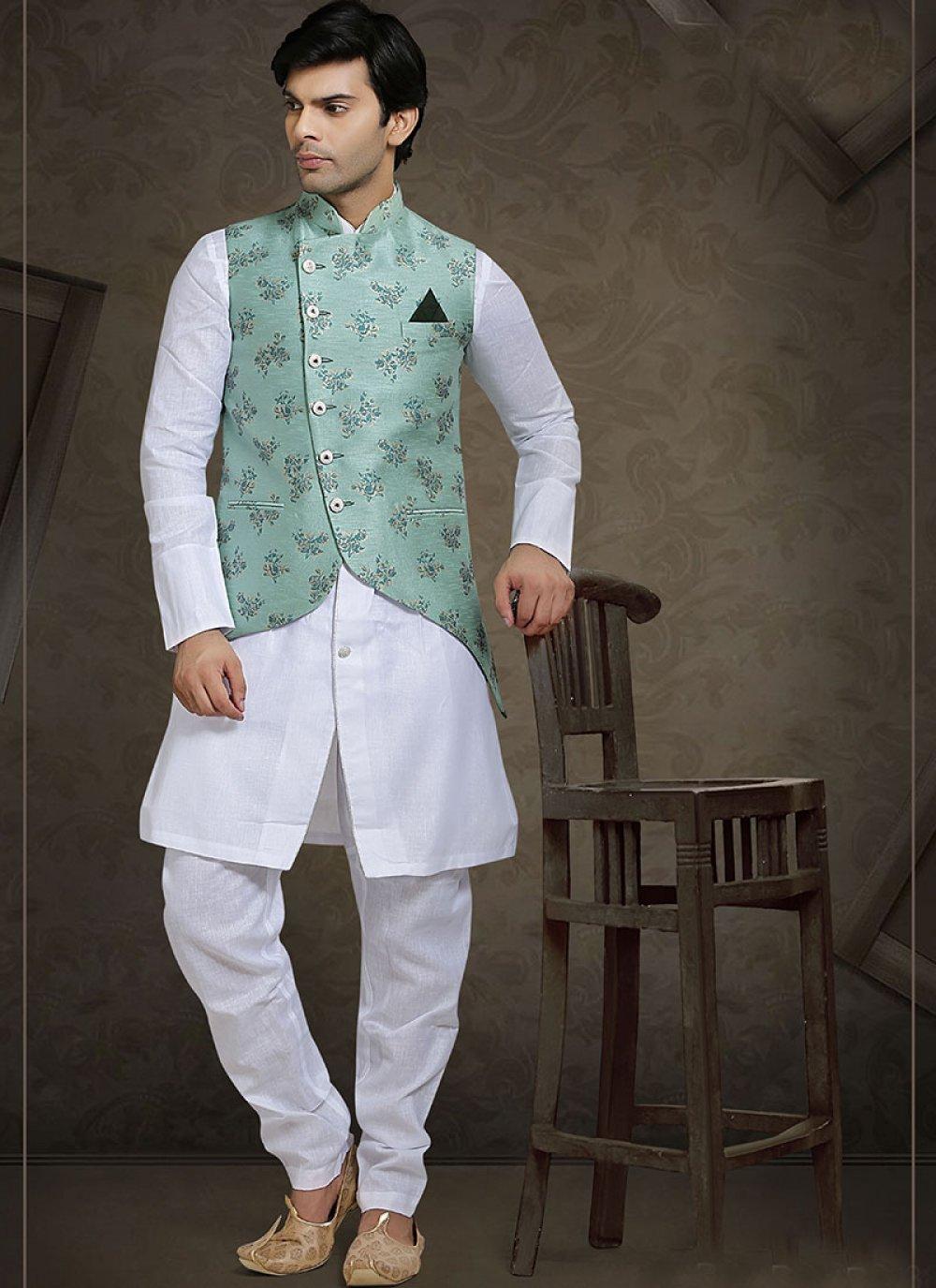 Green Sangeet Jacquard Nehru Jackets