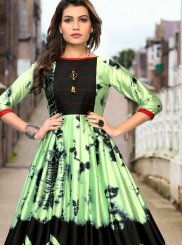 Green Satin Abstract Print Party Wear Kurti