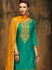 Green Satin Designer Patiala Suit