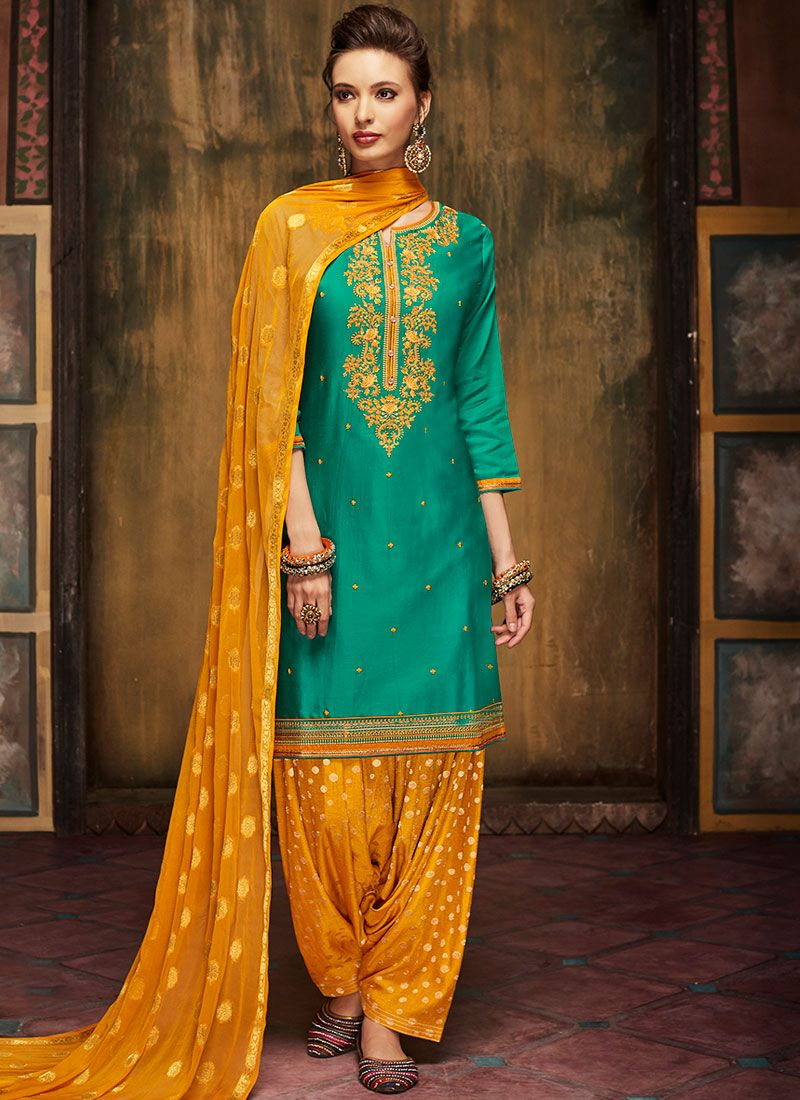 Green Satin Designer Patiala Suit
