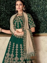 Green Satin Silk Bridal Lehenga Choli