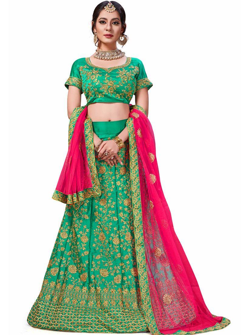 Green Satin Silk Embroidered Trendy Lehenga Choli