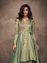 Green Satin Silk Readymade Designer Gown