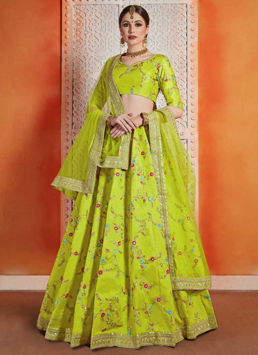 Green Sequins Reception Designer Lehenga Choli