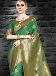 Green Silk Abstract Print Traditional Saree