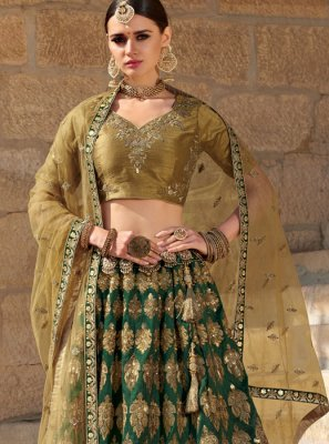 Green Silk Ceremonial Trendy Designer Lehenga Choli