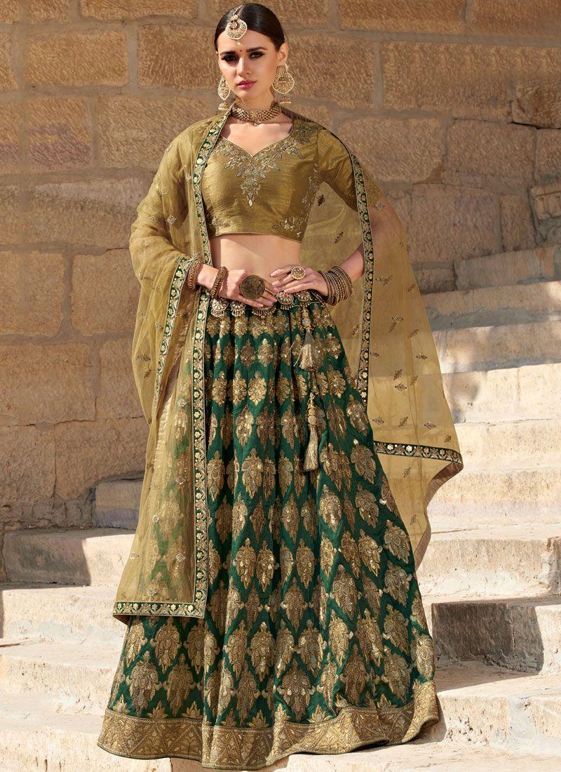 Green Silk Ceremonial Trendy Designer Lehenga Choli
