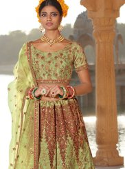 Green Silk Embroidered A Line Lehenga Choli