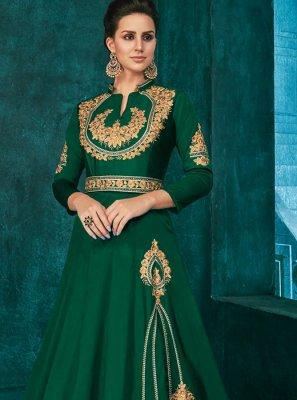 Green Silk Embroidered Anarkali Salwar Suit