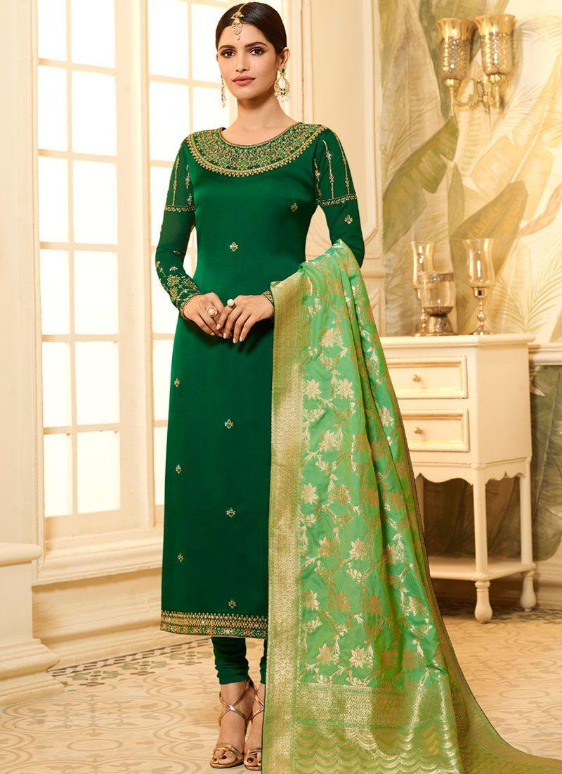 Green Stone Festival Churidar Designer Suit