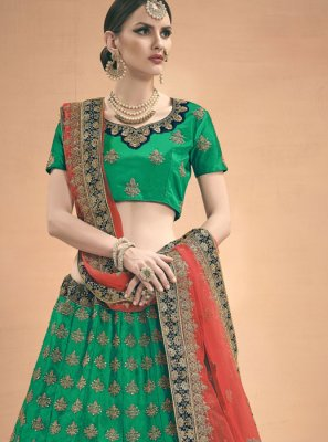 Green Stone Work A Line Lehenga Choli