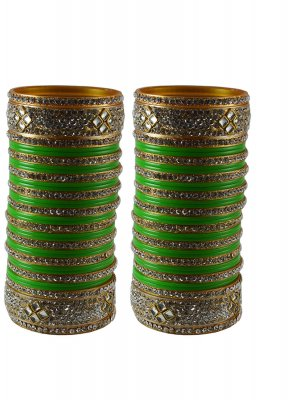 Green Stone Work Party Bangles
