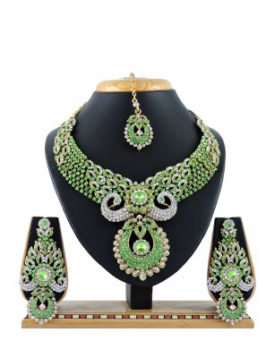 Green Stone Work Party Necklace Set