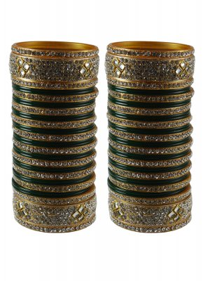 Green Stone Work Reception Bangles