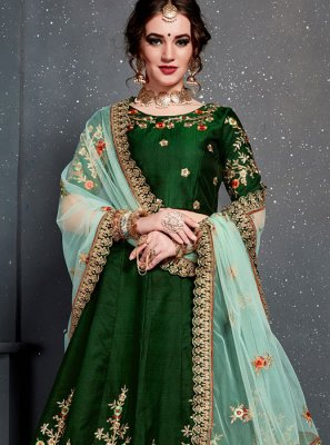 Green Stone Work Satin Silk Designer Lehenga Choli