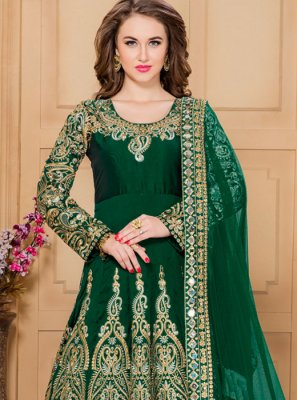 Green Tafeta silk Designer Floor Length Suit