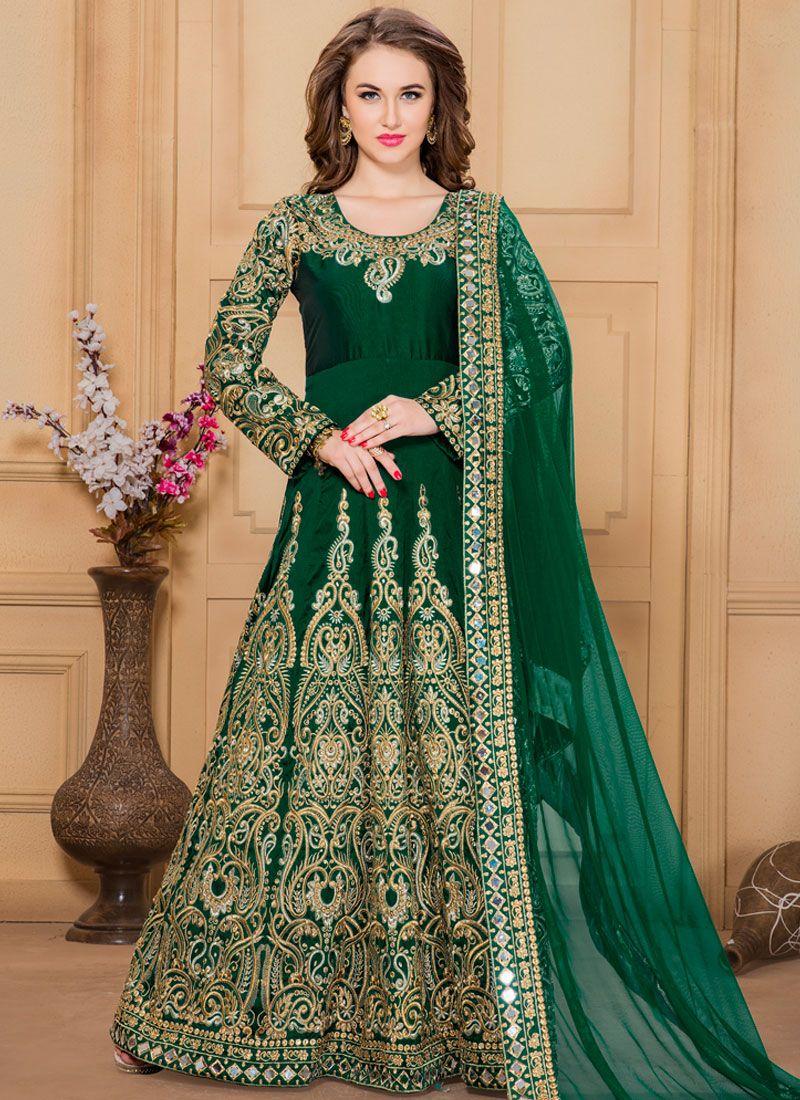 Green Tafeta silk Designer Floor Length Suit