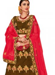 Green Tafeta Silk Embroidered Designer Lehenga Choli