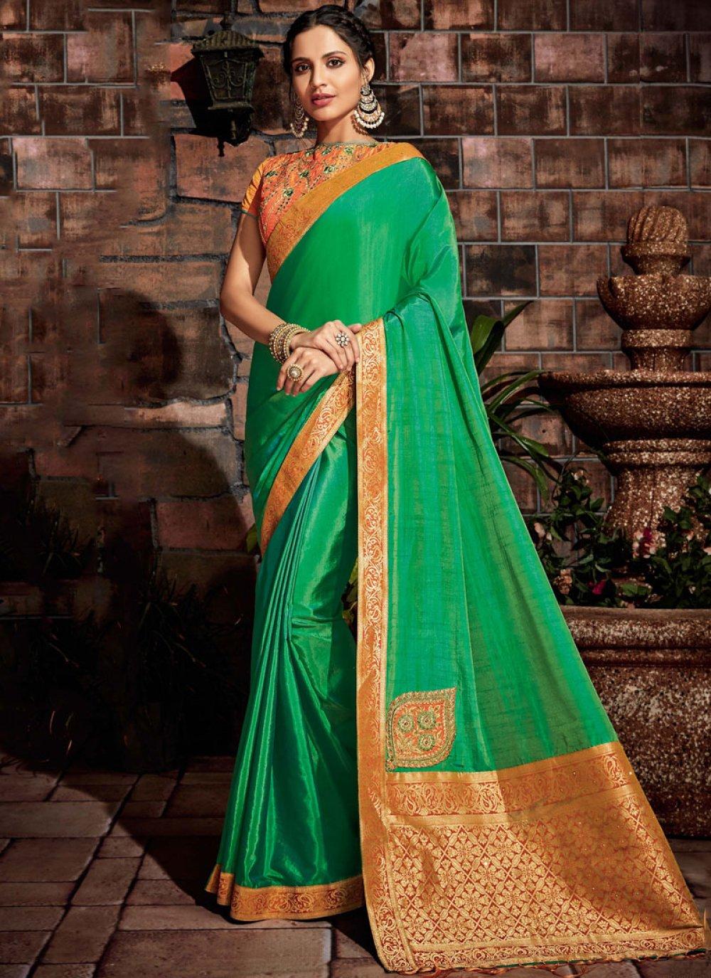 Green Thread Designer Saree