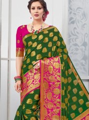 Green Tussar Silk Designer Traditional Saree