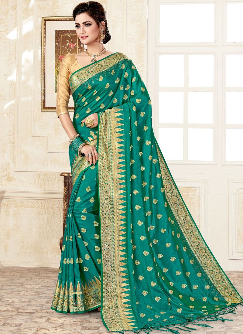 Green Uppada Silk Trendy Saree