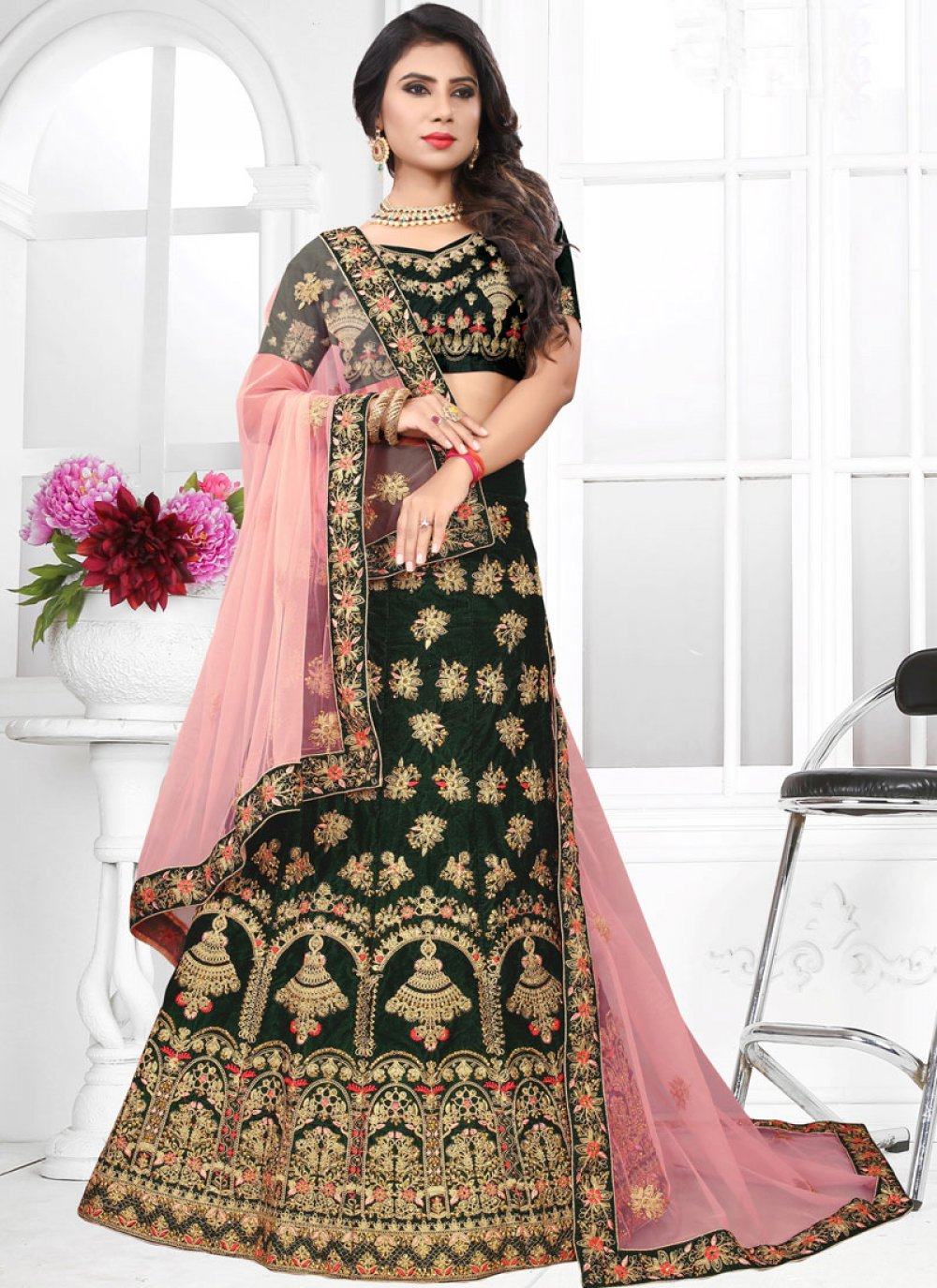 Buy Green Velvet Wedding Lehenga Choli 99092