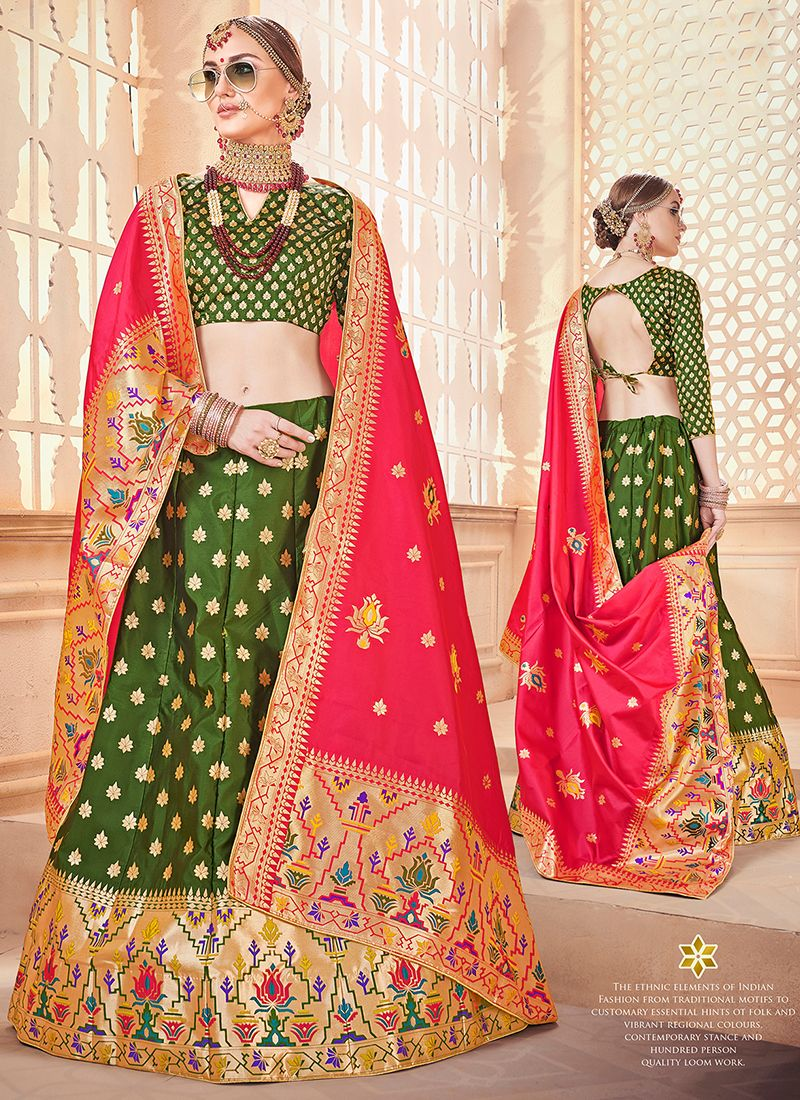 Green Weaving Art Silk Designer Lehenga Choli