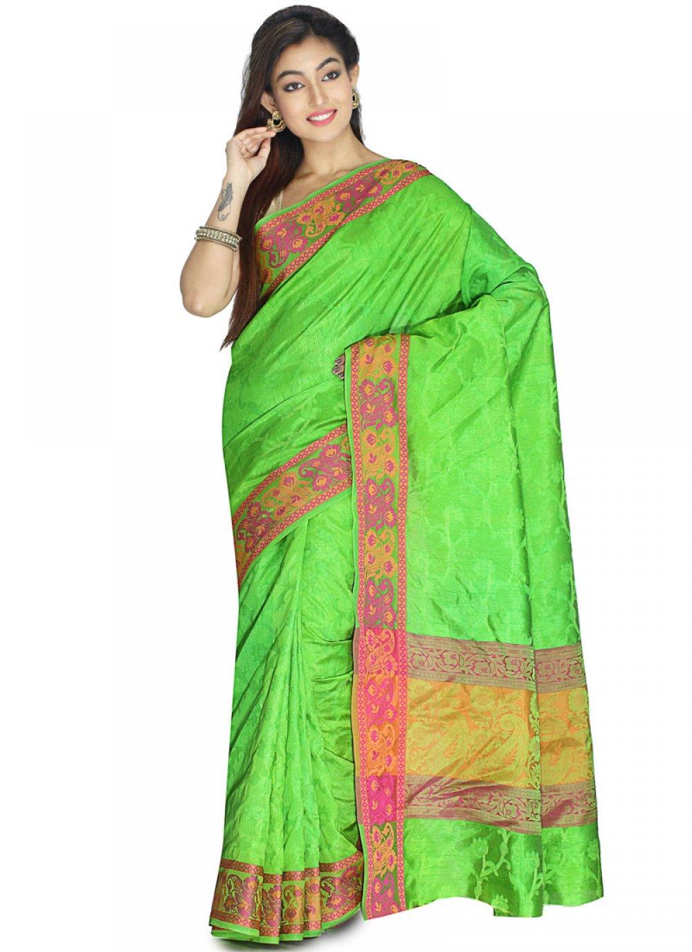 Green Weaving Art Silk Traditional Saree