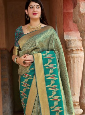 Green Weaving Banarasi Silk Traditional Saree