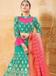 Green Weaving Banarasi Silk Trendy Lehenga Choli