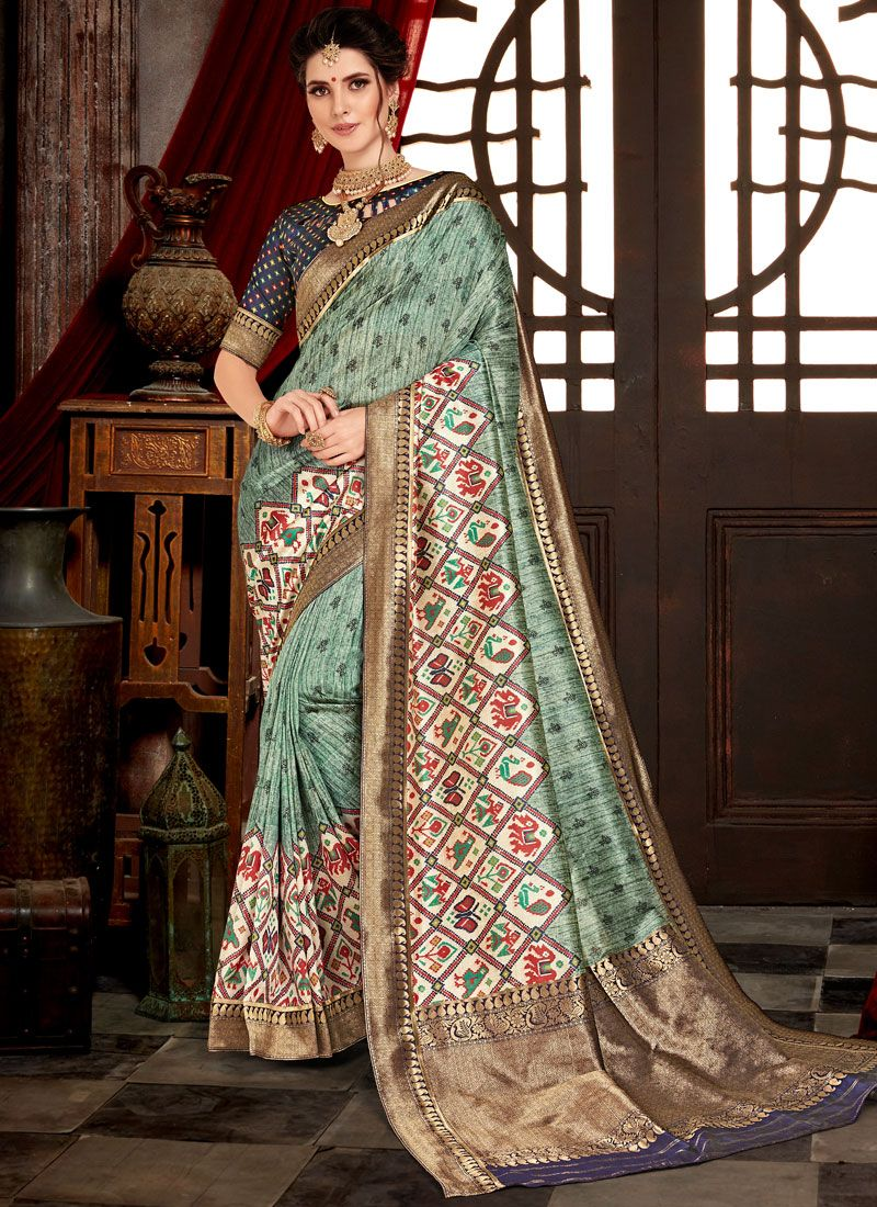 Green Weaving Bhagalpuri Silk Designer Saree