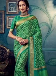 Green Weaving Cotton Silk Traditional Designer Saree