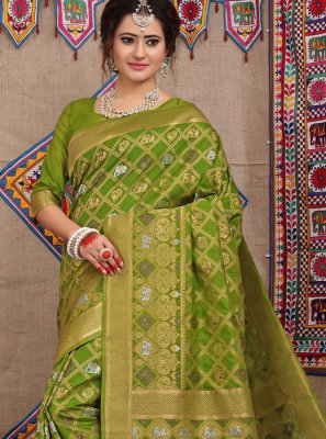 Green Weaving Fancy Fabric Designer Traditional Saree