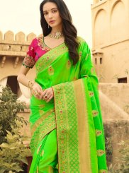 Green Weaving Reception Silk Saree