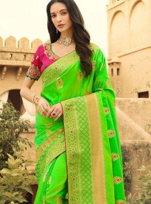 Green Weaving Reception Silk Saree