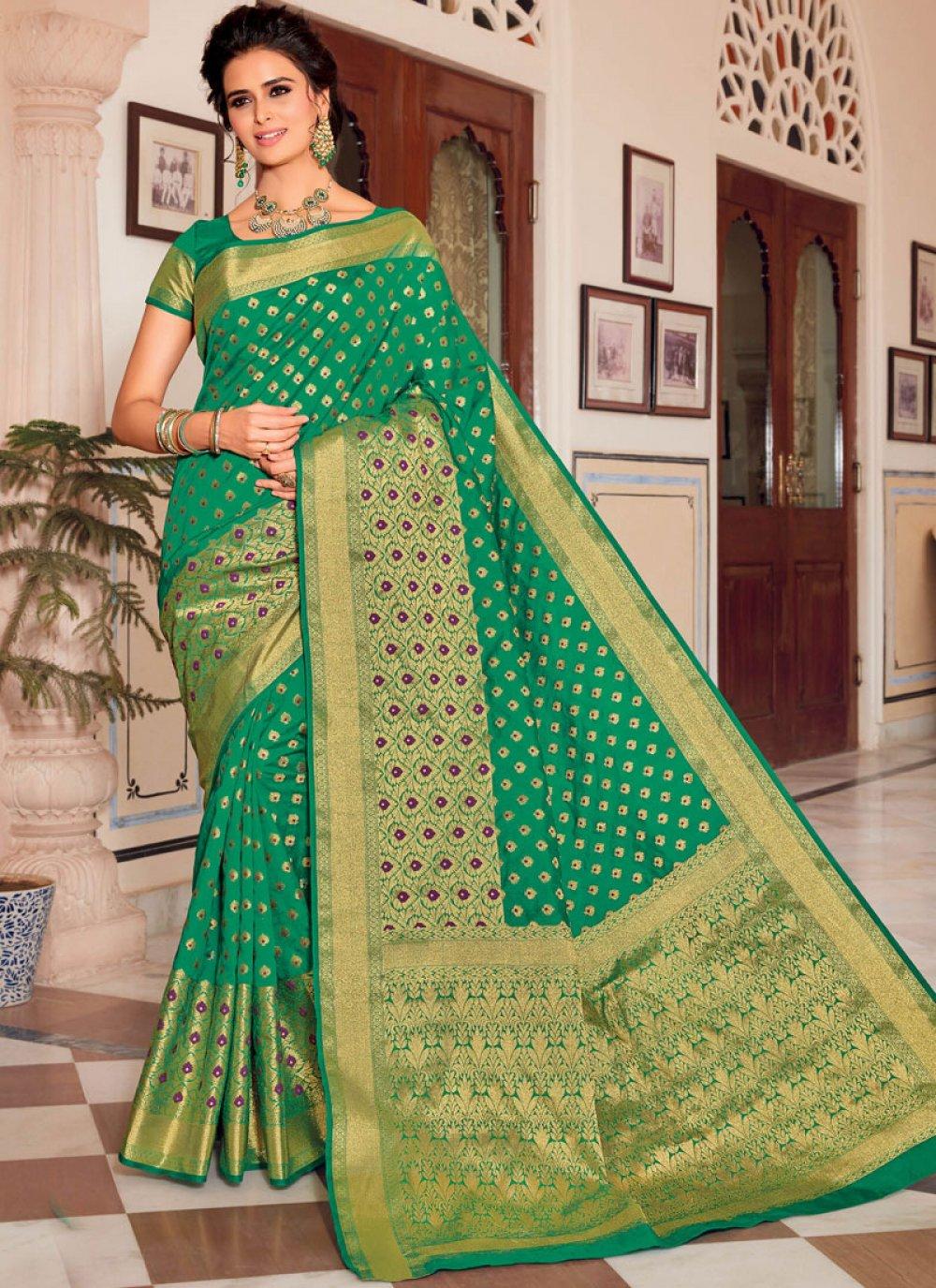 Green Weaving Satin Silk Designer Traditional Saree