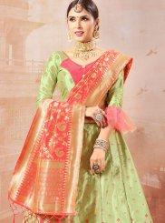 Green Weaving Trendy Lehenga Choli