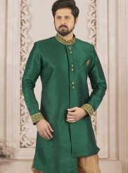 Green Wedding Art Banarasi Silk Indo Western