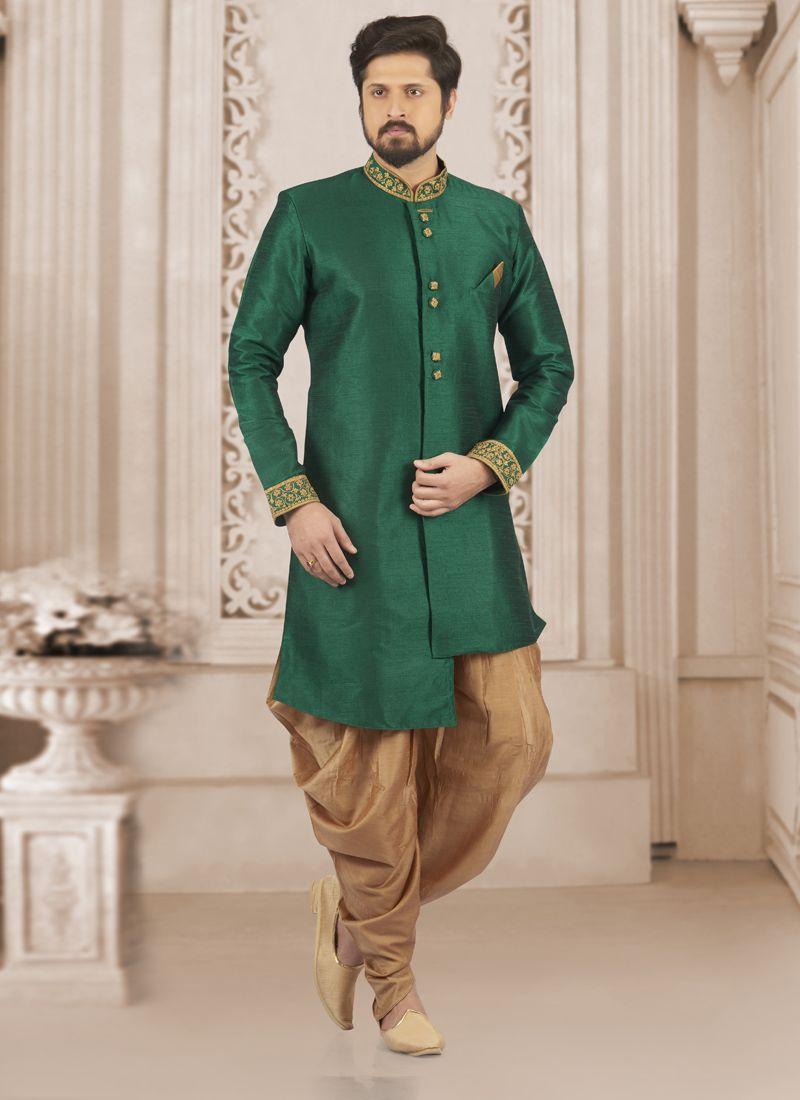 Green Wedding Art Banarasi Silk Indo Western