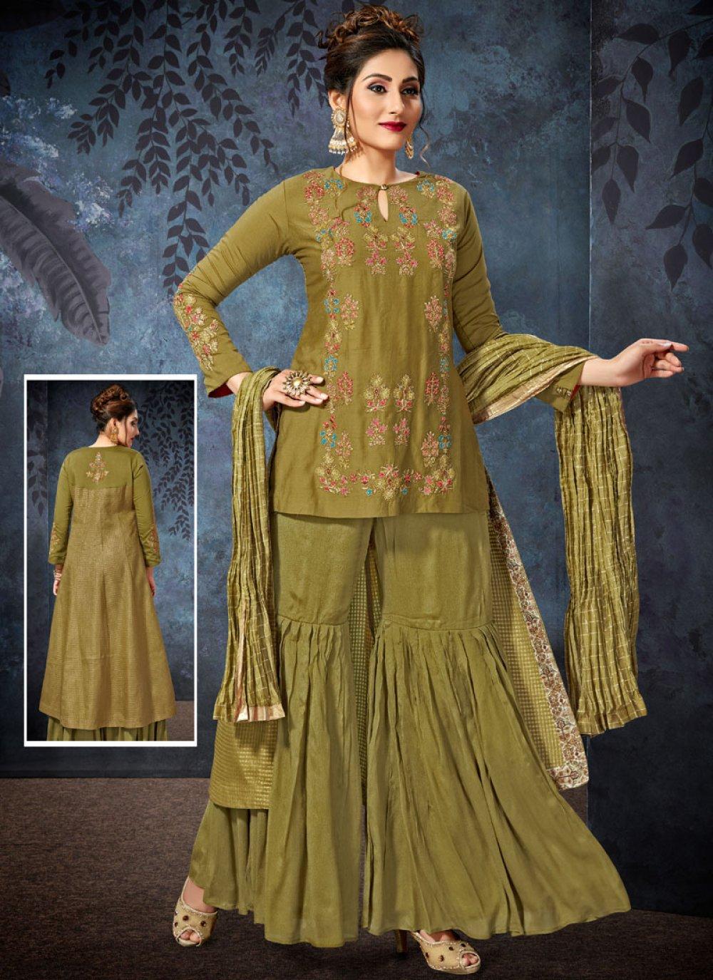 Green Wedding Art Silk Readymade Suit