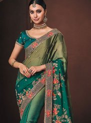 Green Wedding Georgette Satin Designer Traditional Saree