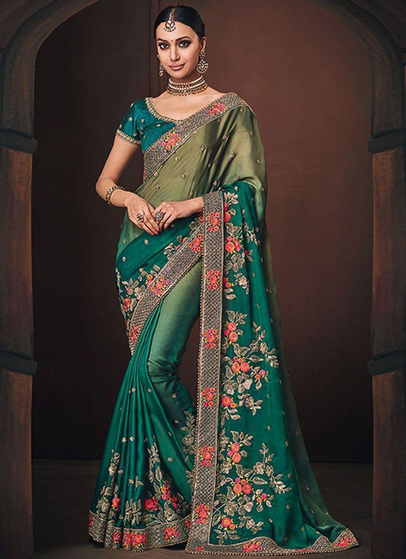 Green Wedding Georgette Satin Designer Traditional Saree